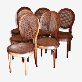 6 chaises cannées style Louis XVI
