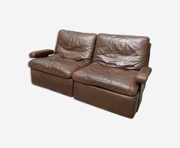 Canapé vintage 2 places en cuir