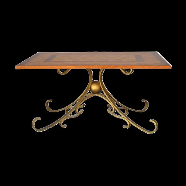 Selency Table basse bois et fer forgé doré style 1940