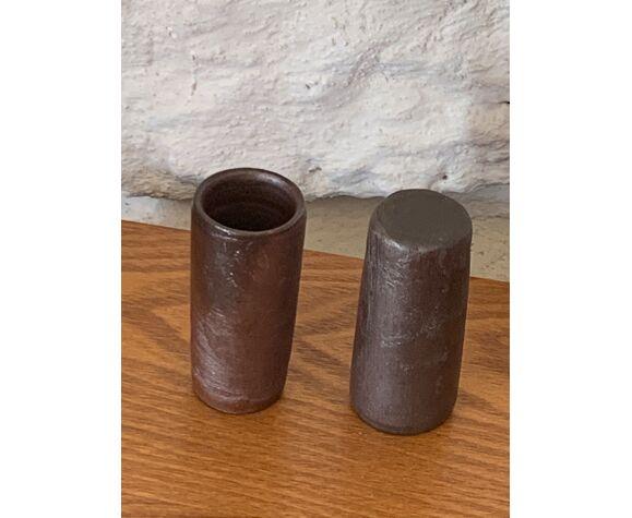 6 verres à liqueur en grès cylindrique vintage