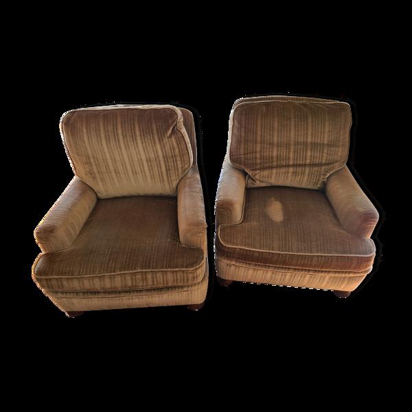 Paire de fauteuils velour