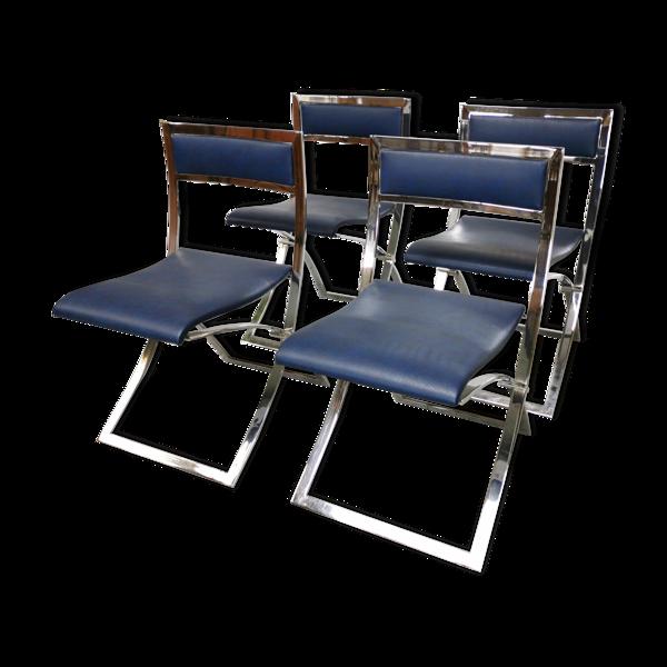 Suite de 4 chaises vintage design Marcello Cunéo