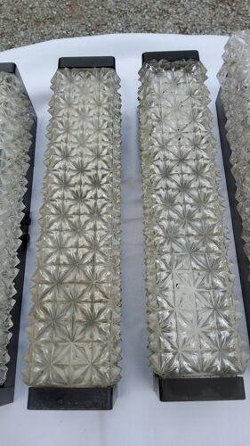 Set de 6 appliques Erco des années 60 en verre et bakélite