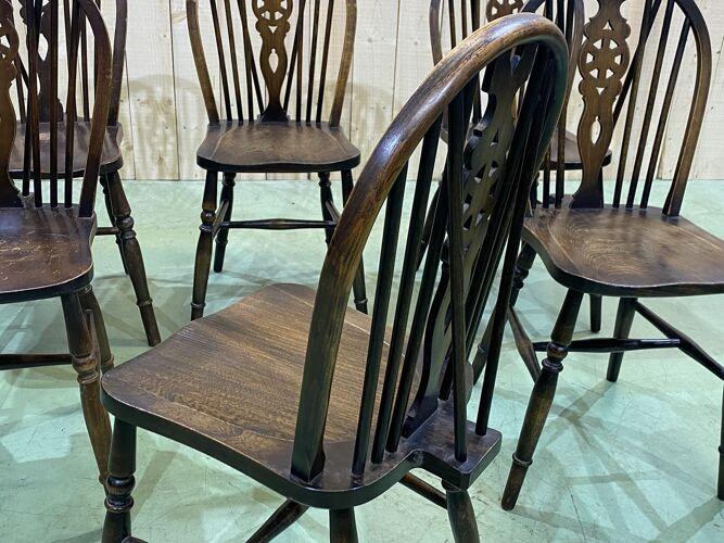 Série de 6 chaises bistrot anglaises des années 1970 en orme