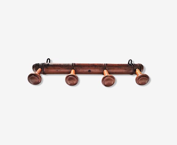 Coat rack 4 old wooden hooks bamboo style around 1900/1930