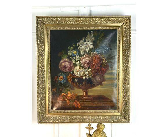 Tableau huile sur toile d'un vase fleuri posé sur une table XIXème