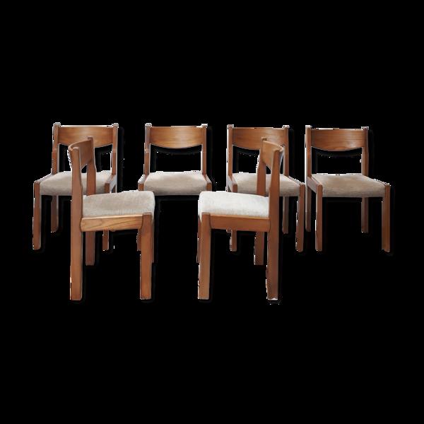 Selency Set de 6 chaises en orme années 60