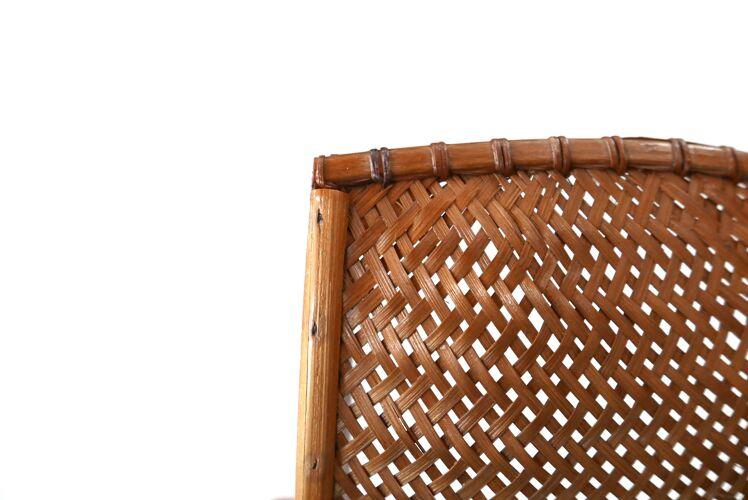 Applique d'angle en osier et bois années 60
