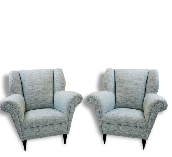 Talian Pair Of Armchairs In The Style Of Paolo Buffa - New Upholstery - C.