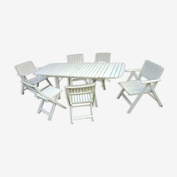 Salon de jardin vintage R Gleizes en bois peint en blanc