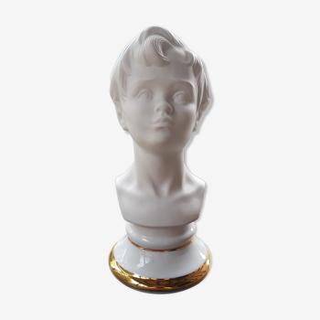Buste jeune garçon biscuit porcelaine