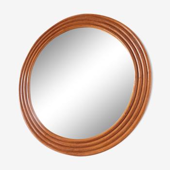 Miroir rond en bambou rotin vintage