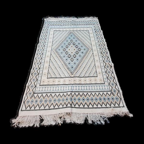 Tapis blanc et bleu marocain en laine fait main - 240x150cm