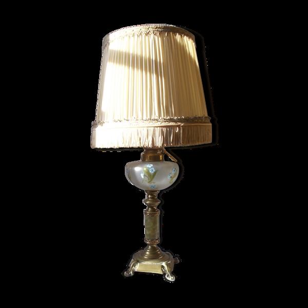 lampe à huile électrifiée, en laiton et onyx