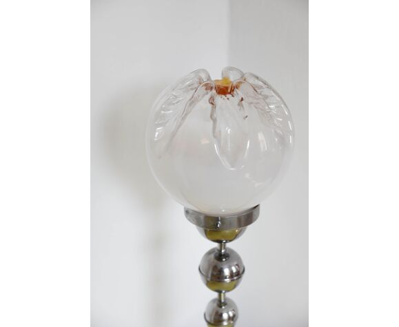Lampe metal argent globe Murano Mazzega