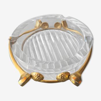 Cendrier lancel golf en cristal et metal dore