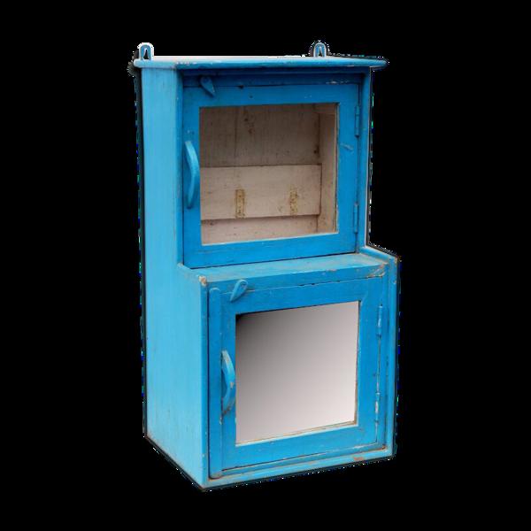 Vitrine bleu vitre et miroir vintage ancien bois teck