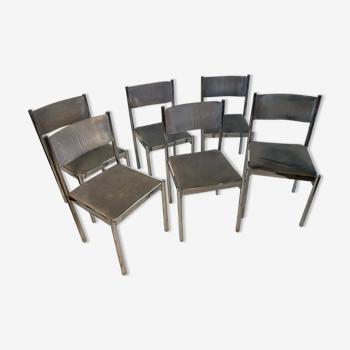 Six chaises années 70