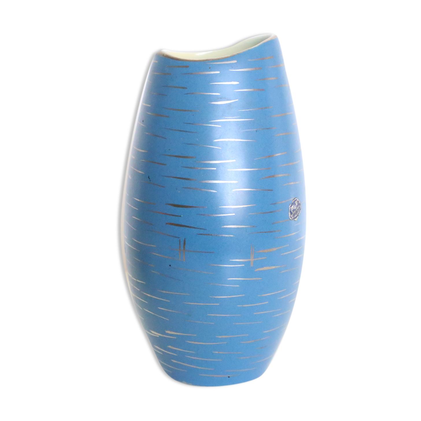 Vase en céramique allemande, bleu et or, 1960, artisanat, vintage