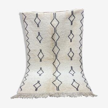 Tapis laine berbère blanc noir 153x250cm