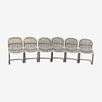 Lot de 6 chaises filaires 70 Gastone Rinaldi