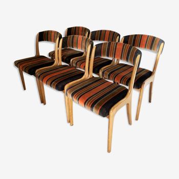 Set de 6 chaises gondoles Baumann estampillées NF