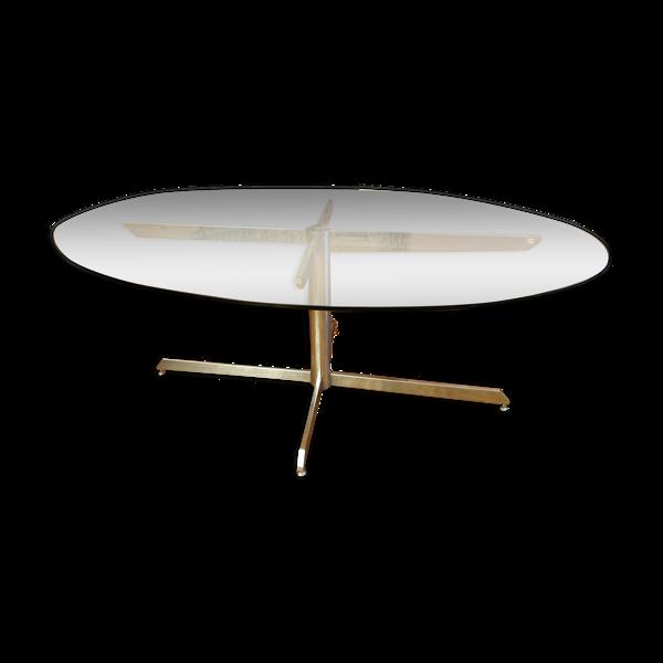 Selency Table repas pour Roche Bobois plateau verre