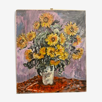 Painting, still life with sunflowers, oil on canvas 60/70