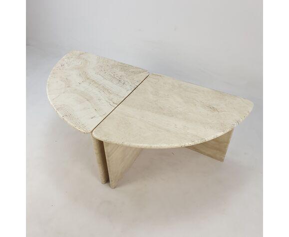 Table basse en travertin, années 1980 d