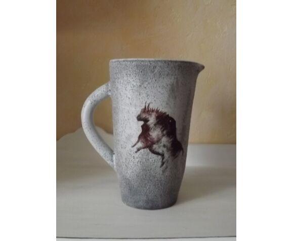 Pichet céramique de Jean Austruy décor animalier  signé jean austruy