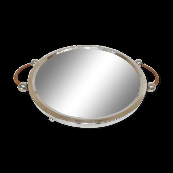 Plateau moderniste rond métal argenté verre cuir tray