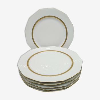 Lot de 6 assiettes en porcelaine de Limoges blanc et double dorure