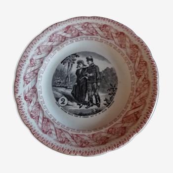 Assiette parlante à thème Gien N° 2 fin XIXème