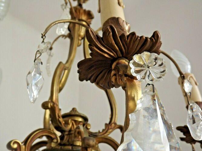 Lustre français antique Louis XV en bronze avec cristaux