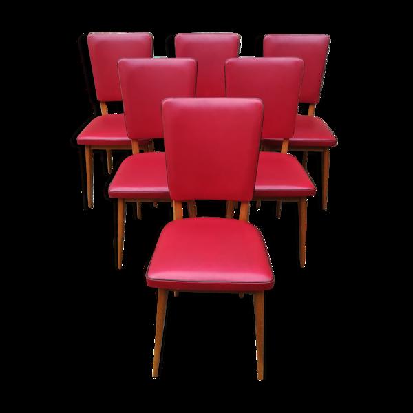 Selency Chaises en skaï rouge