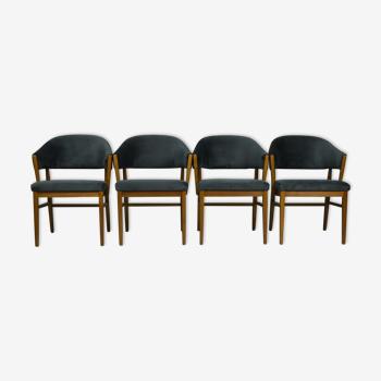 Lot de 4 chaises en teck du Danemark des années 1960