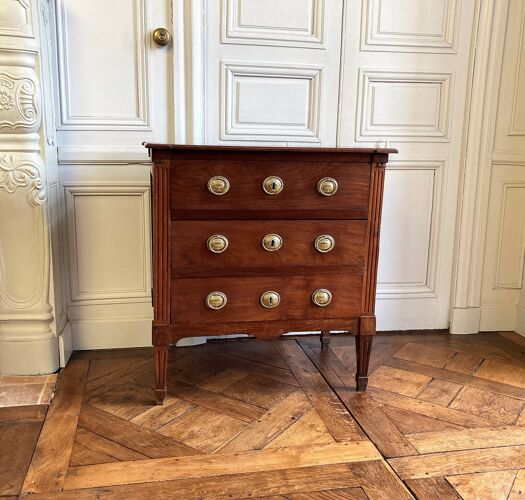 Petite commode Louis XVI en acajou XVIIIe siècle