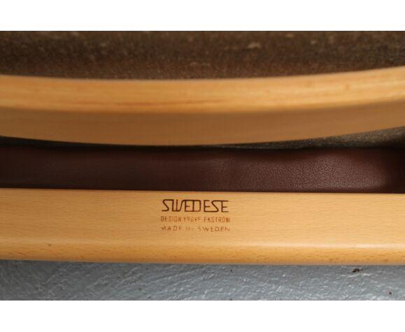 Fauteuil d'Yngve Ekstrom pour suédois en cuir 1980