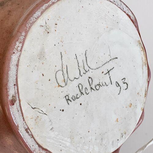 Lampe en céramique avec abat-jour en rotin 1993s