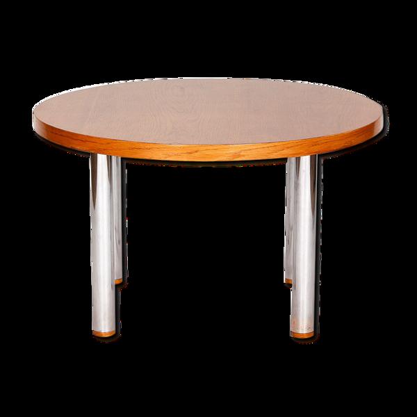Selency Table basse vintage en acier et bois, années 1950
