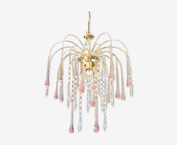 Lustre ' Medusa ' style Murano Venini laiton doré  70