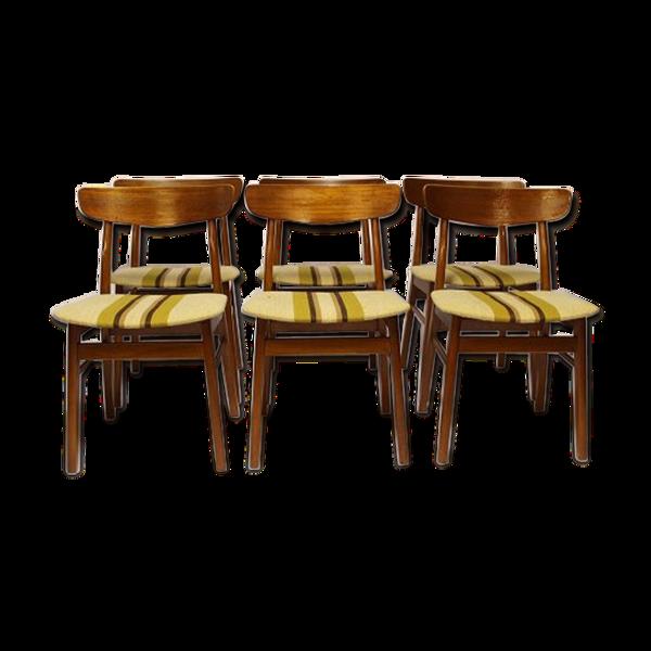 Selency Set of Danish chairs in teak and wool