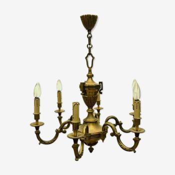 Lustre de style Louis XV en bronze patiné Six points de lumière XX siècle