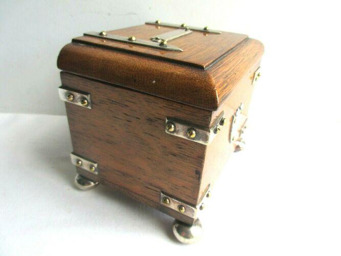 Encrier dans coffret bois boite à timbres pique plume Art Nouveau