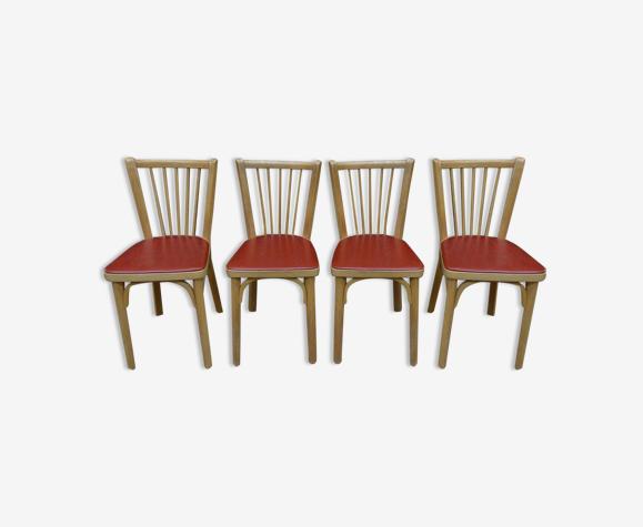 Set de 4 chaises bistrot par Baumann France 1950