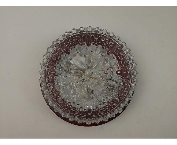 Plafonnier en verre transparent vintage