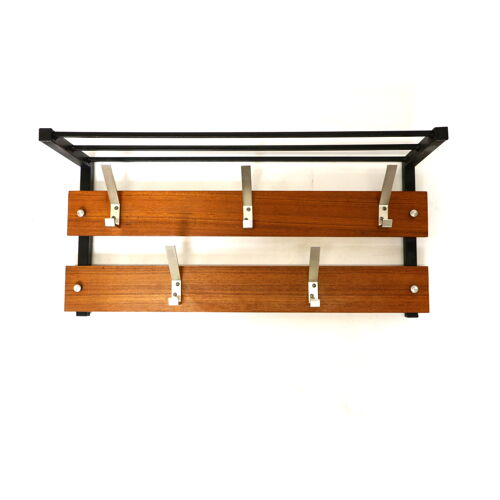 Vintage wall coat rack with hat rack made in the 60s