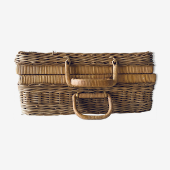 Vintage braided wicker case