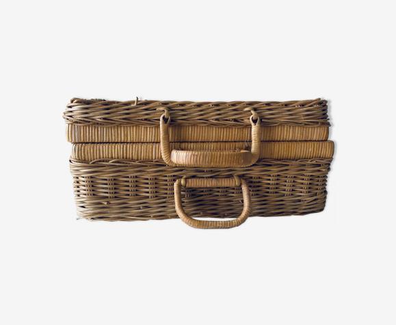 Vintage braided wicker case