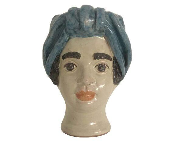 Vase tête mini bleu ciel femme